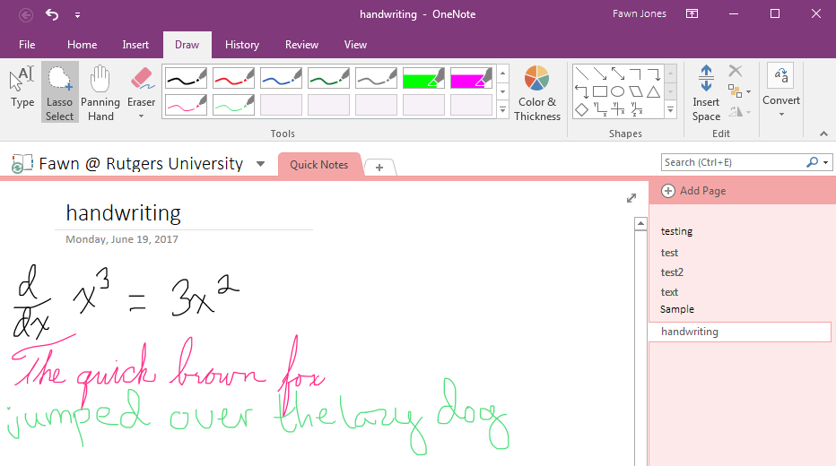 The OneNote desktop interface. Messy notes (including a simple calculus equation) in both cursive and print are scrawled in a variety of colors.