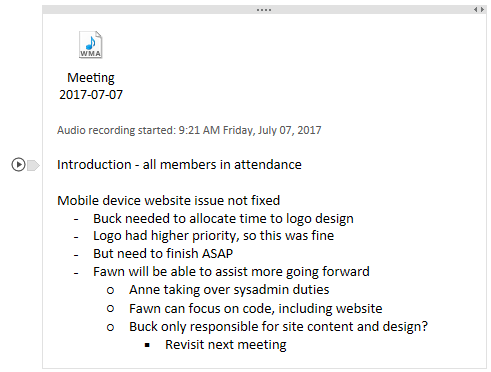 "A section in a OneNote page with an icon for an audio recording and some typed notes below it. Next to the currently-selected line of text there is a ""play"" button."